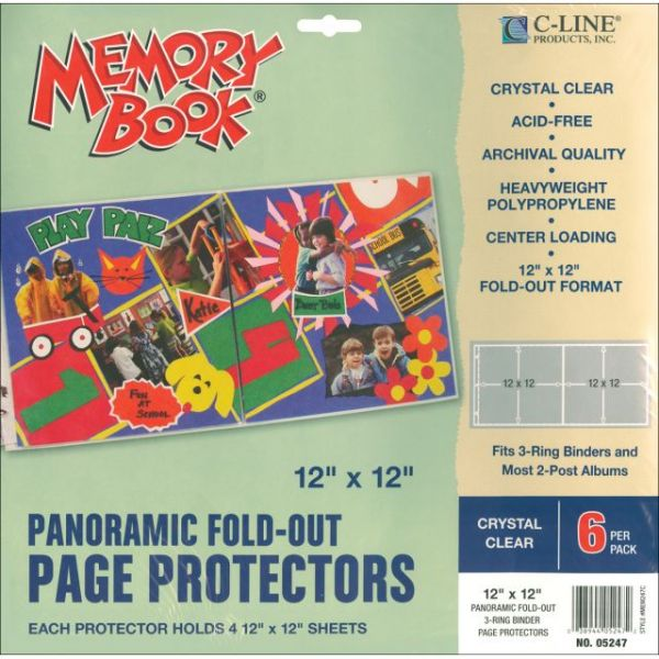 "Memory Book Panoramic Fold-Out Page Protectors 12""X12"" 6/Pkg"