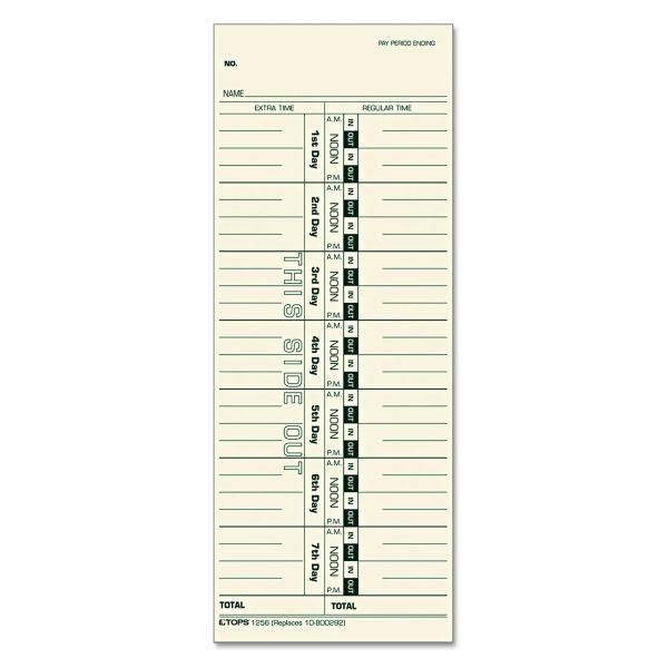 TOPS Acroprint/Cincinnati/Lathem/Simplex/Stromberg Time Card 3 1/2 x 9, 500/Box
