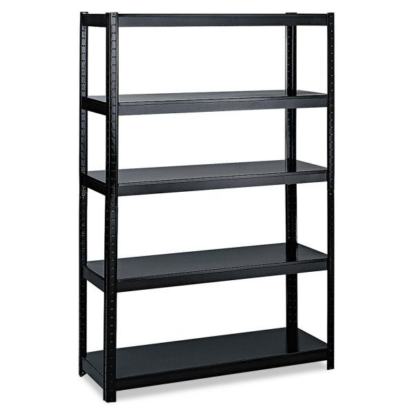Safco Boltless Steel Shelving, Five-Shelf, 48w x 24d x 72h, Black