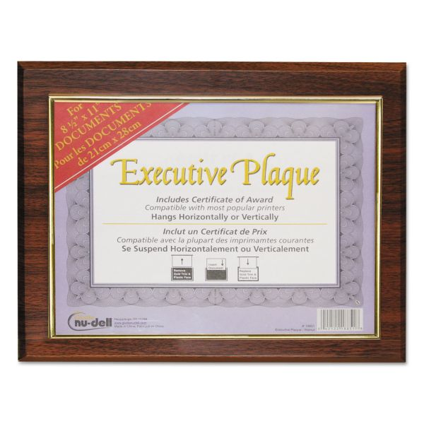 NuDell Executive Plaque, Plastic, 13 x 10-1/2, Walnut