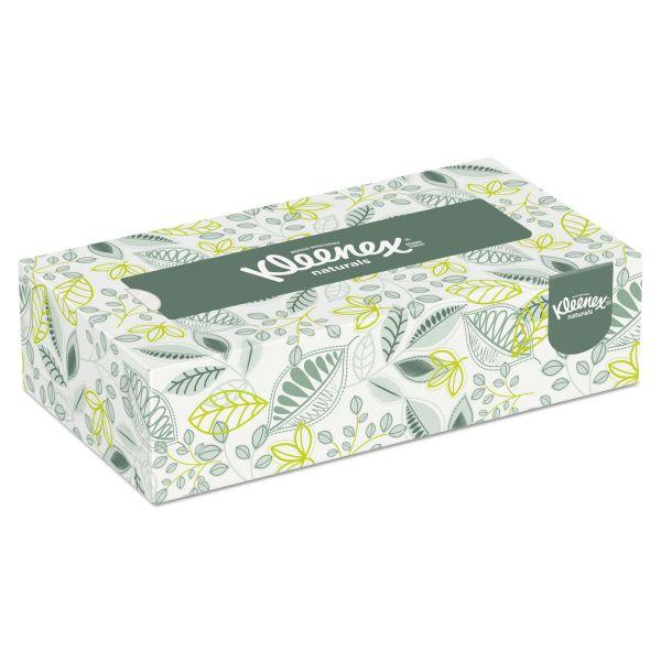 Kleenex Naturals Facial Tissue, 2-Ply, White, 125/Box, 48 Boxes/Carton