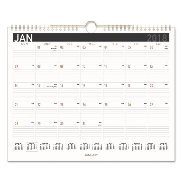 AT-A-GLANCE Contemporary Medium Monthly Wall Calendar, 14 7/8 x 11 7/8, 2018