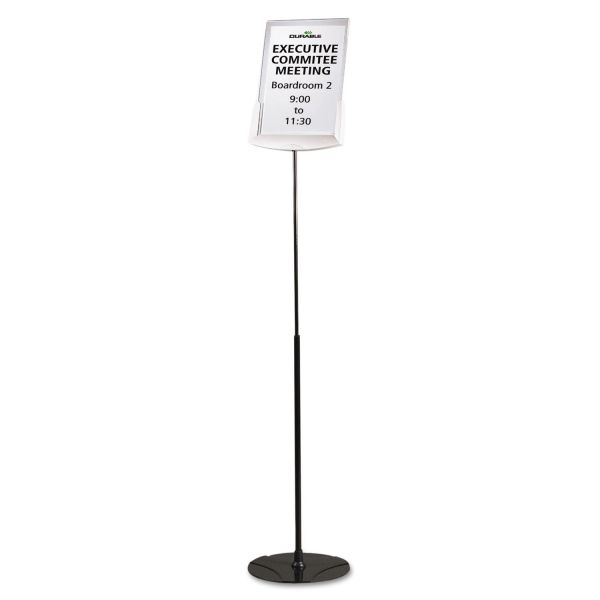 "Durable Sherpa Infobase Sign Stand, Acrylic/Metal, 40""-60"" High, Gray"