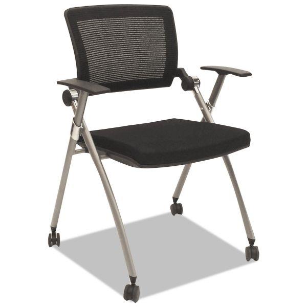 Alera Plus Flex Back Nesting Chair, Black/Gray, 2/Carton