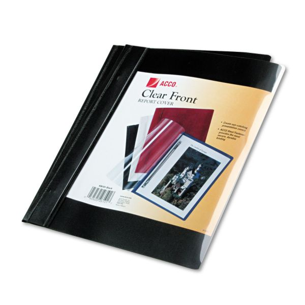 "ACCO Vinyl Report Cover, Prong Clip, Ltr, 1/2""Capacity, Clear Cover/Black Back, 10/PK"