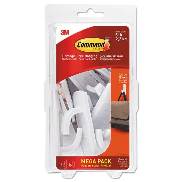 Command General Purpose Hooks, Large, 5lb Cap, White, 14 Hooks & 16 Strips/Pack