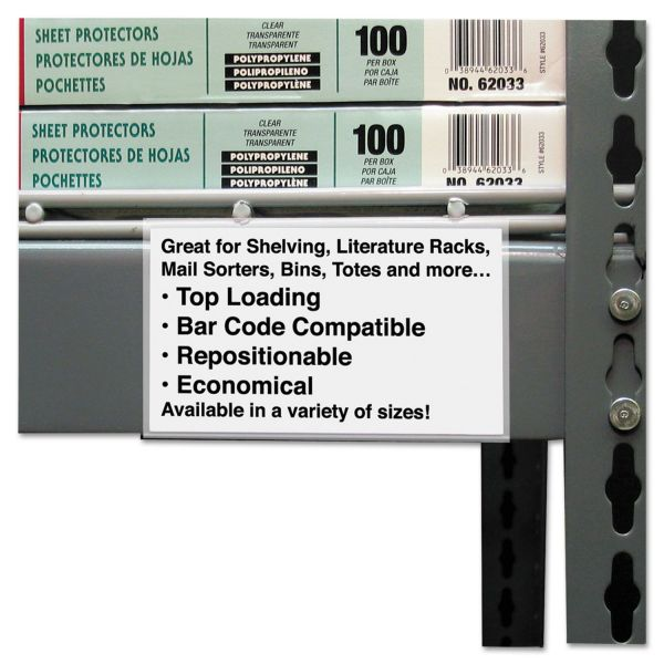 C-Line Peel and Stick Repositionable Label Holders, 3 x 5, Clear, 50 per Pack