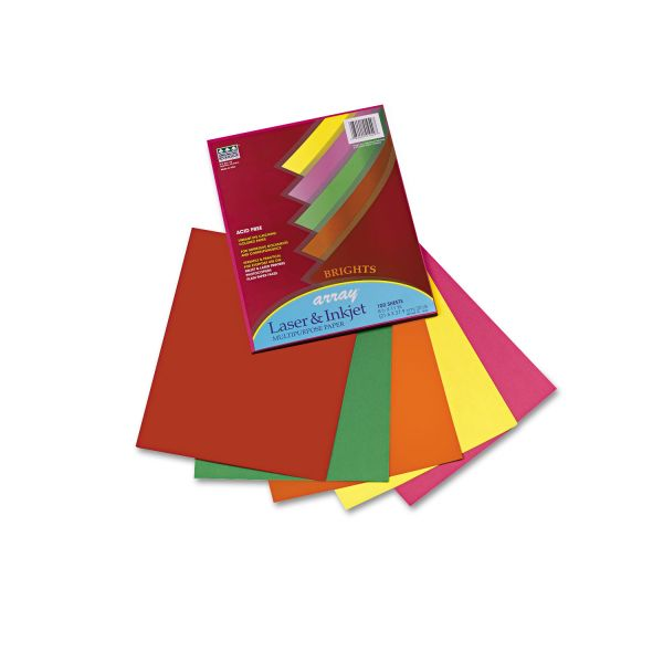Pacon Array Colored Bond Paper, 20lb, Letter, Assorted, 100 Sheets/Pack