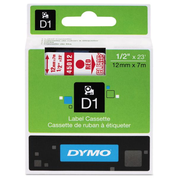 """DYMO D1 High-Performance Polyester Removable Label Tape, 1/2"""" x 23 ft, Red on Clear"""