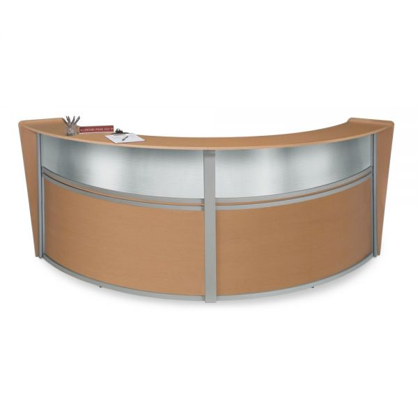 OFM OFM Marque Series Plexi Double-Unit Curved Reception Station, Maple