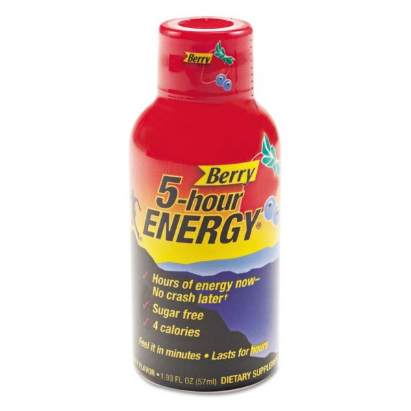 5-hour ENERGY Energy Drink, Berry, 1.93oz Bottle, 12/Pack