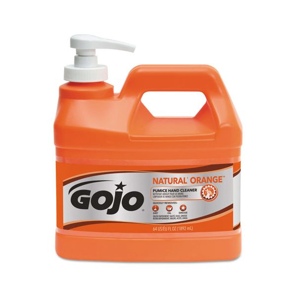 GOJO NATURAL ORANGE Pumice Hand Cleaner, Orange Citrus Scent, .5gal Pump Bottle, 4/CT
