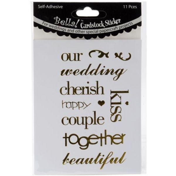 Bella! Wedding Words Cardstock Stickers 11/Pkg