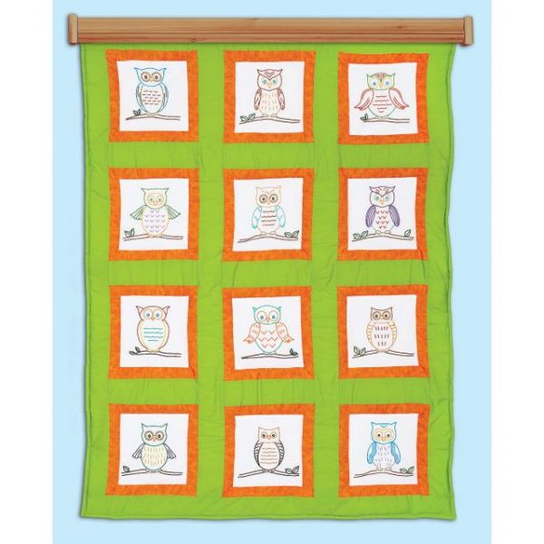 Themed Stamped White Quilt Blocks