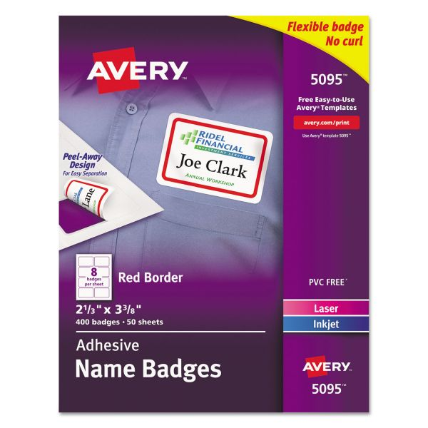 Avery Flexible Self-Adhesive Laser/Inkjet Name Badge Labels, 2 1/3 x 3 3/8, RD, 400/BX