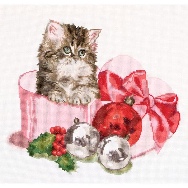 Christmas Kitten On Aida Counted Cross Stitch Kit