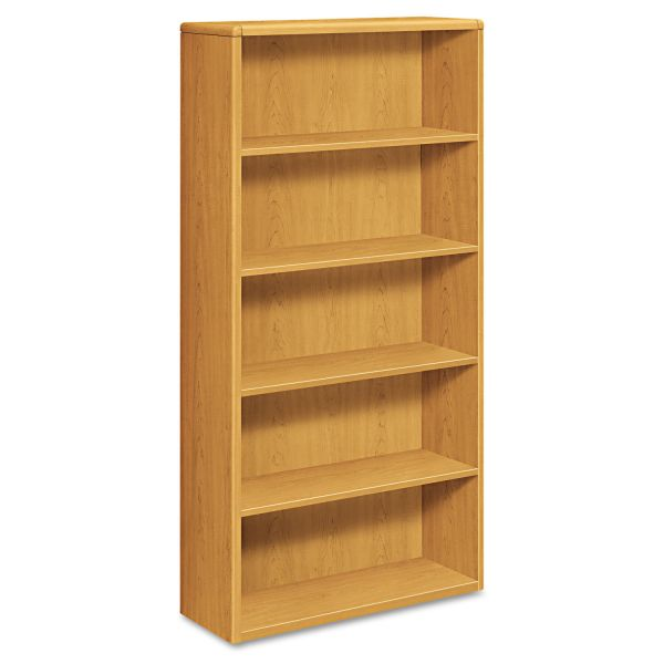HON 10700 Series Wood Bookcase, Five Shelf, 36w x 13 1/8d x 71h, Harvest