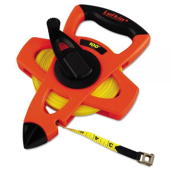"""Lufkin Engineer Hi-Viz Fiberglass Measuring Tape, 1/2""""x100ft, Yellow Blade, Orange Case"""