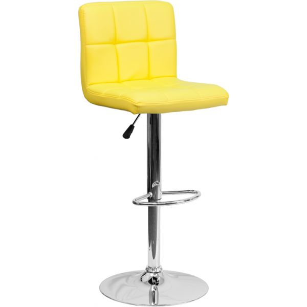 Flash Furniture Contemporary Yellow Quilted Vinyl Adjustable Height Barstool with Chrome Base
