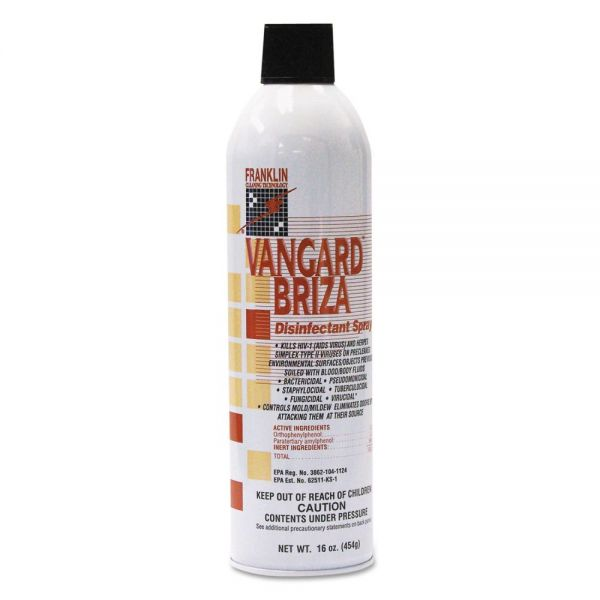 Franklin Cleaning Technology Vangard Briza Surface Disinfectant/Space Spray, Linen Fresh, 16oz Aerosol, 12/CT