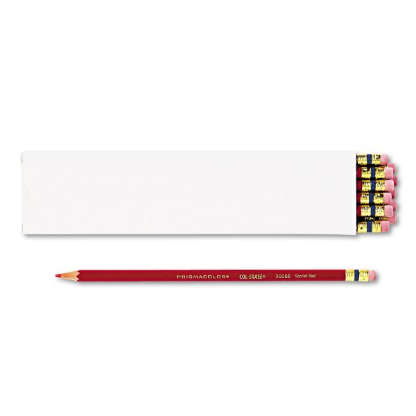 Prismacolor Col-Erase Pencil w/Eraser, Scarlet Red Lead/Barrel, Dozen