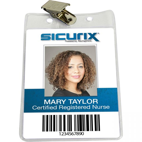 SICURIX Standard Badge Holders Vertical Clip 50 Pack CLEAR (67860)