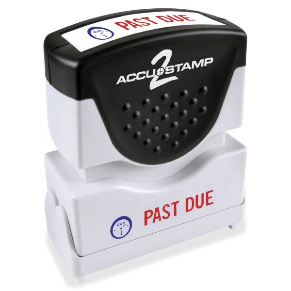 ACCUSTAMP2 Pre-Inked Shutter Stamp with Microban, Red/Blue, PAST DUE, 1 5/8 x 1/2