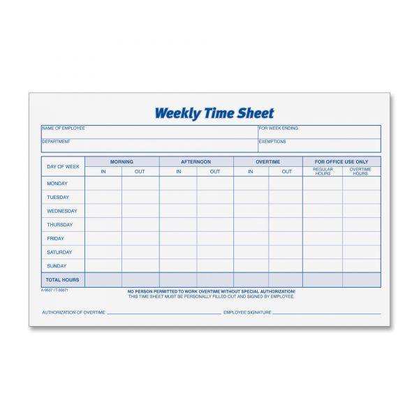 TOPS Weekly Time Sheet Forms