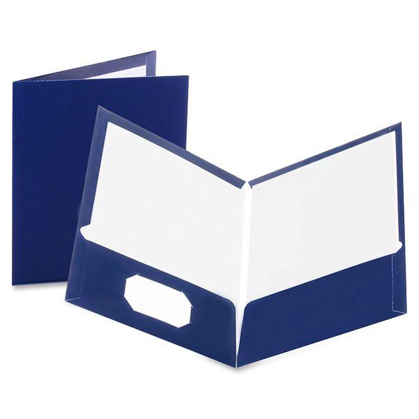 Oxford Laminated Dark Blue Two Pocket Folders