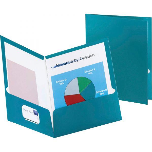 Oxford Two-Pocket Laminated Folder, 100-Sheet Capacity, Metallic Teal