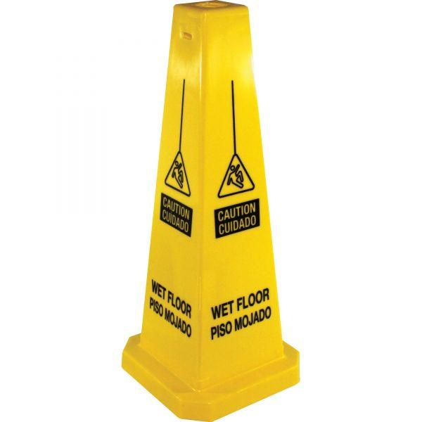 "Genuine Joe ""Caution Wet Floor/ Cuidado Piso Mojado"" Four Sided Safety Cone"