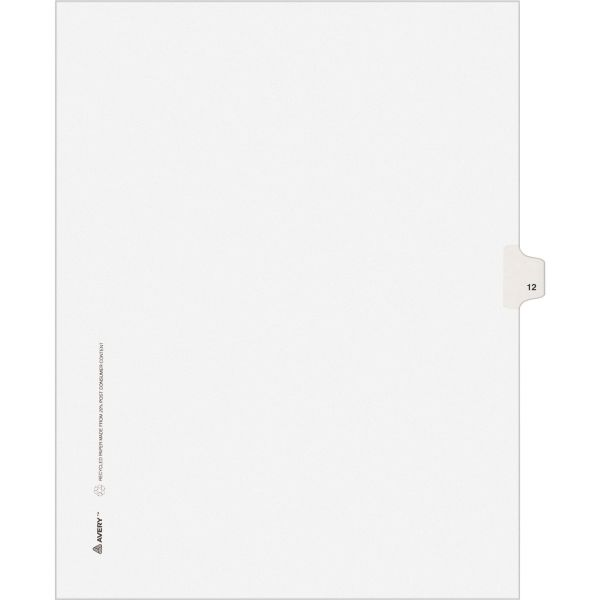 Avery-Style Legal Exhibit Side Tab Divider, Title: 12, Letter, White, 25/Pack