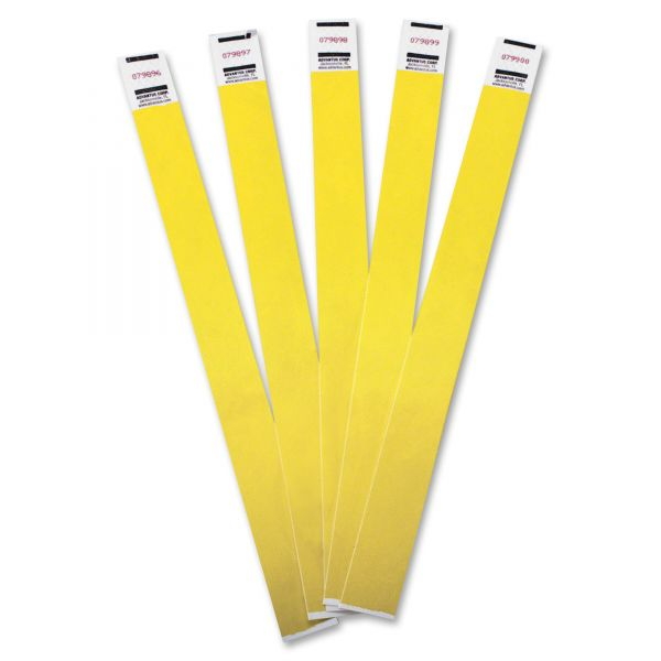 Advantus Crowd Management Wristbands, Sequentially Numbered, Yellow, 100 Per Pack