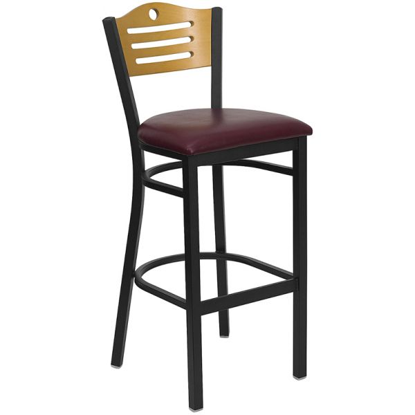 Flash Furniture HERCULES Series Black Slat Back Metal Restaurant Barstool - Natural Wood Back, Burgundy Vinyl Seat