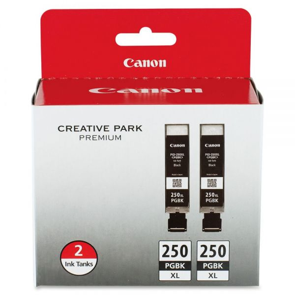 Canon PGI-250 Pigment Black XL Twin Pack Ink Cartridges (6432B004)