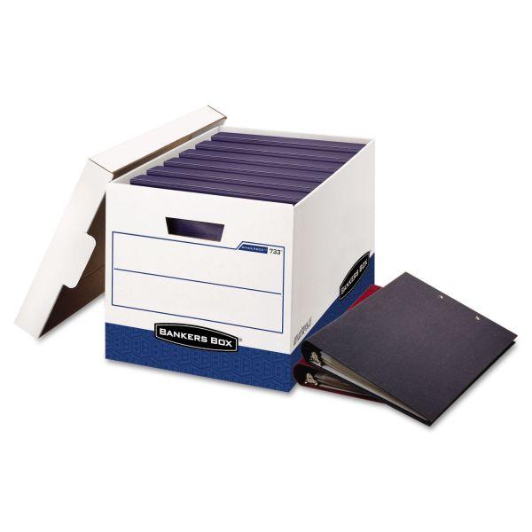 Bankers Box BINDERBOX Storage Box, Locking Lid, 12 1/4 x 18 1/2 x 12, White/Blue, 12/Carton