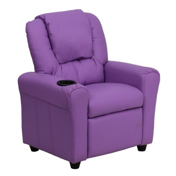Flash Furniture Contemporary Lavender Vinyl Kids Recliner with Cup Holder and Headrest [DG-ULT-KID-LAV-GG]