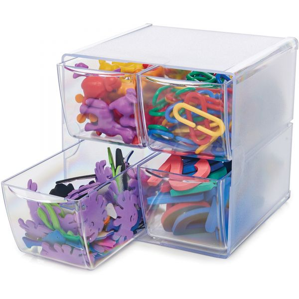 deflecto Desk Cube, with Four Drawers, Clear Plastic, 6 x 6 x 6