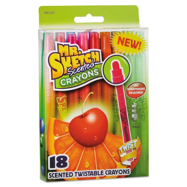 Mr. Sketch Scented Crayons, Wax, Assorted, 18/Pack