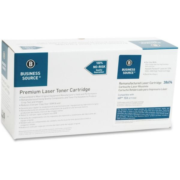 Business Source Remanufactured HP 15X (C7115X) Toner Cartridge