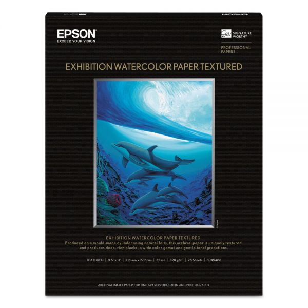 Epson Exhibition Textured Watercolor Paper, 8 1/2 x 11, White