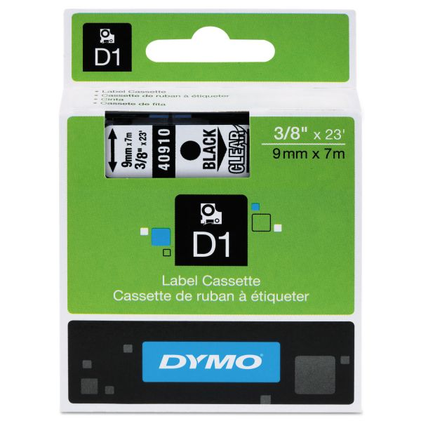 "DYMO D1 High-Performance Polyester Removable Label Tape, 3/8"" x 23 ft, Black on Clear"