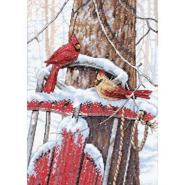 Cardinals On Sled Counted Cross Stitch Kit