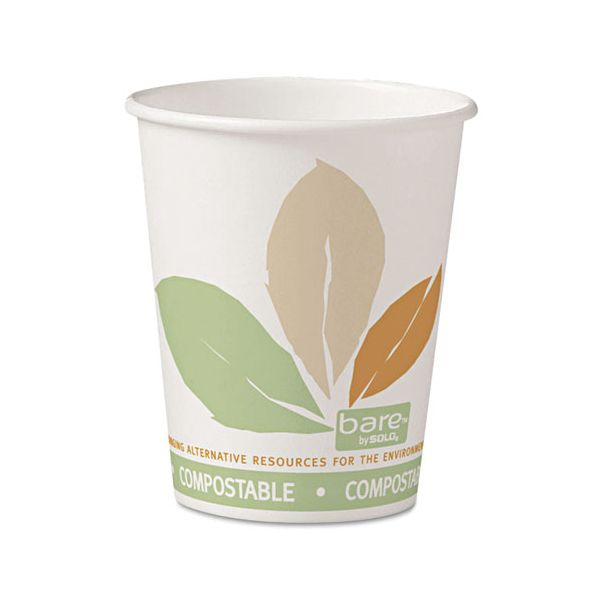 Dart Bare by Solo Eco-Forward PLA Paper Hot Cups, 10oz, Leaf Design,50/Bag,20 Bags/Ct