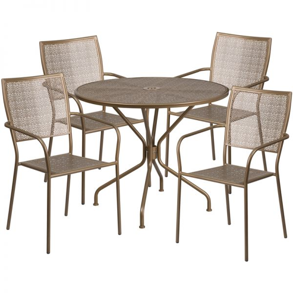 Flash Furniture 35.25'' Round Gold Indoor-Outdoor Steel Patio Table Set with 4 Square Back Chairs