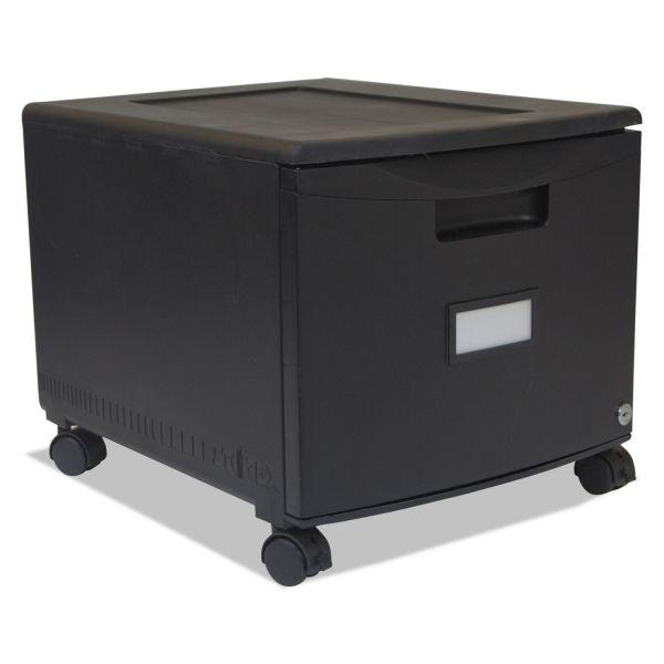 Storex Single-Drawer Mobile Filing Cabinet, 14-3/4w x 18-1/4d x 12-3/4h, Black