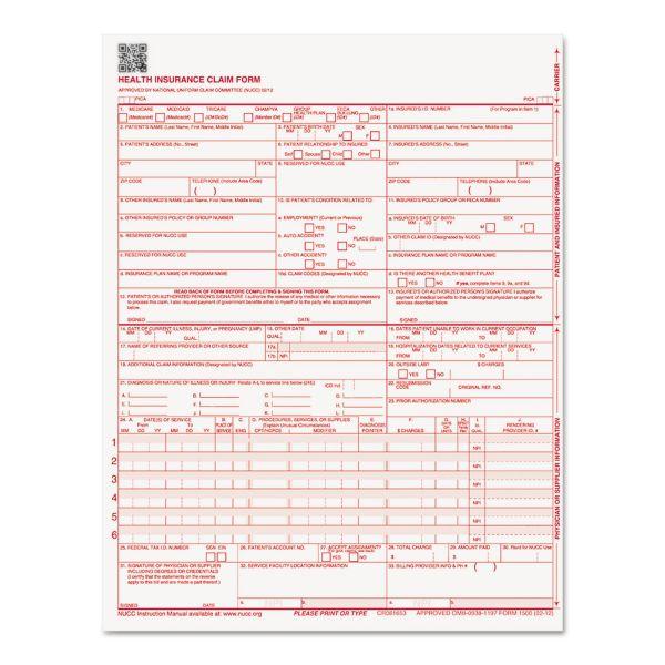 Paris Corporation CMS 02/12 Insurance Claim Form, 8 1/2 x 11, 250 Forms