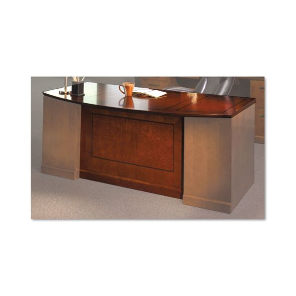 Tiffany Industries Sorrento Bow Front Desk Top With Modesty Panel, 72w x 39d, Bourbon Cherry