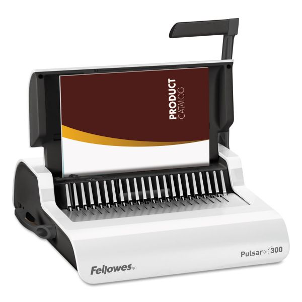 Fellowes Pulsar Manual Comb Binding System, 300 Sheets, 18 1/8 x 15 3/8 x 5 1/8, White