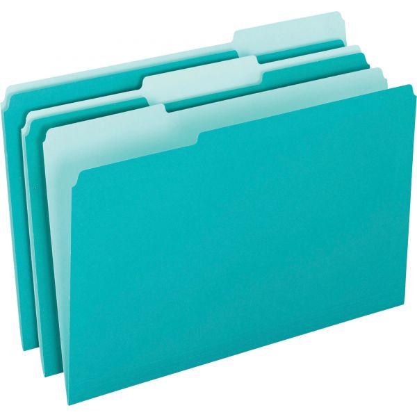 Pendaflex Interior File Folders, 1/3 Cut Top Tab, Letter, Aqua, 100/Box